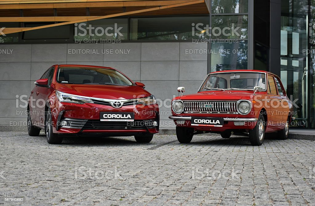 Toyota Corolla - the newest and the oldest generation stock photo