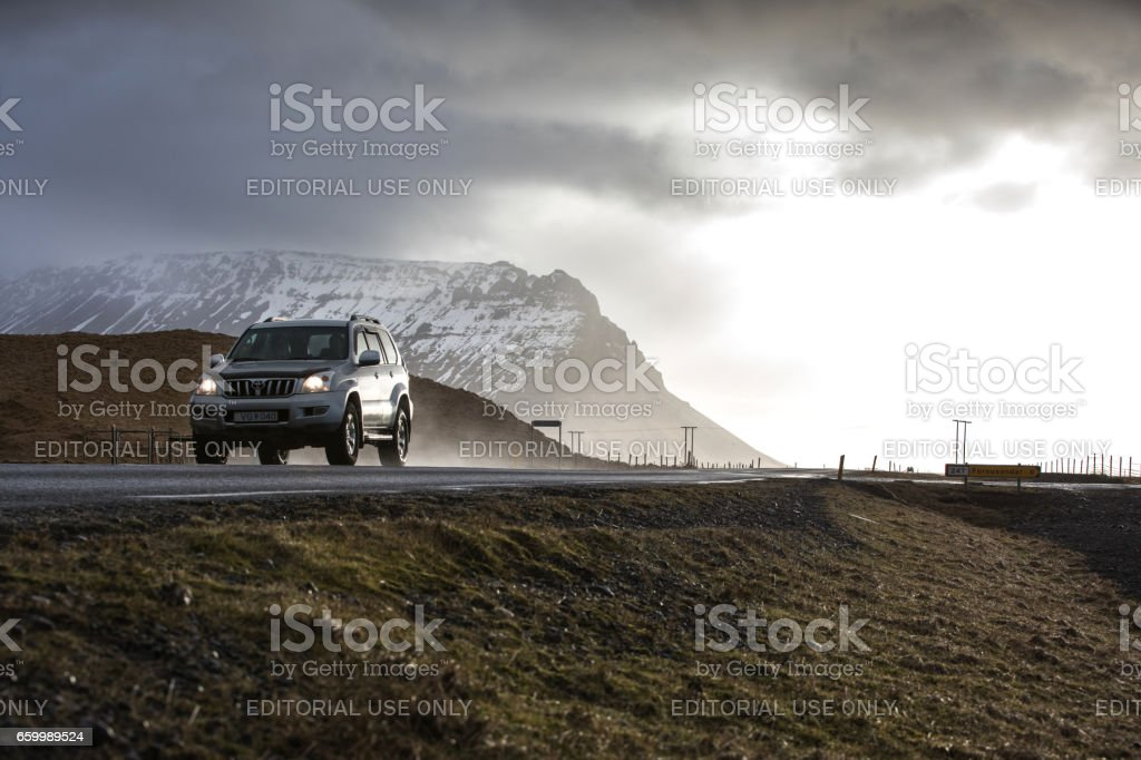 Toyota Land Cruiser on a country road in Iceland