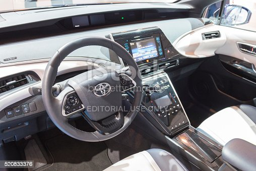 toyota mirai hydrogen fuel cell car dashboard stock photo more pictures of 2016 istock. Black Bedroom Furniture Sets. Home Design Ideas