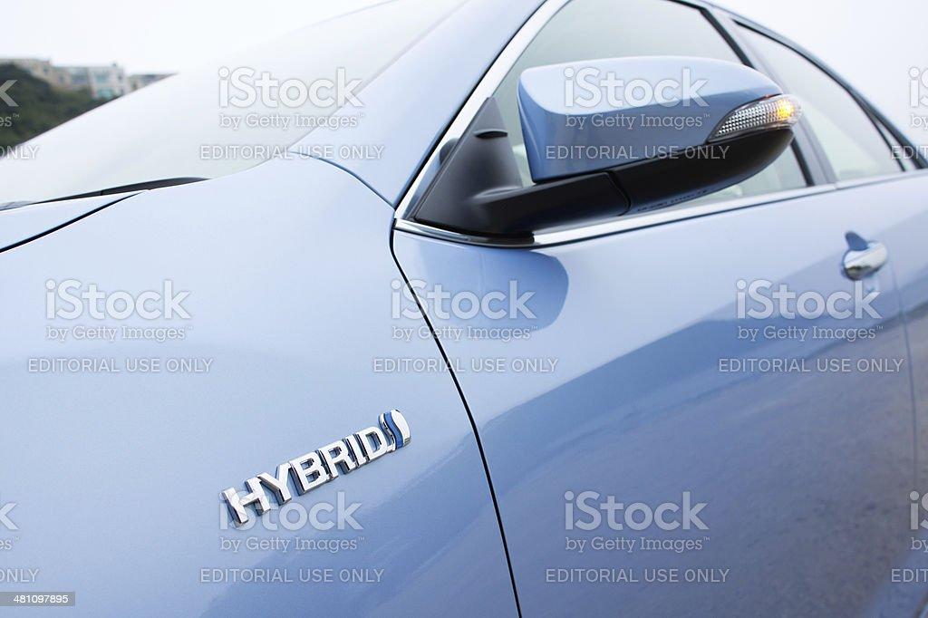 Toyota Prius Hybrid logo stock photo
