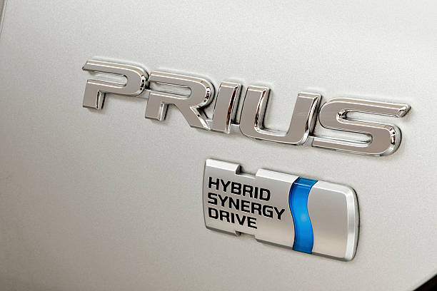 Toyota Prius Name Plate with Hybrid Synergy Drive Medallion stock photo