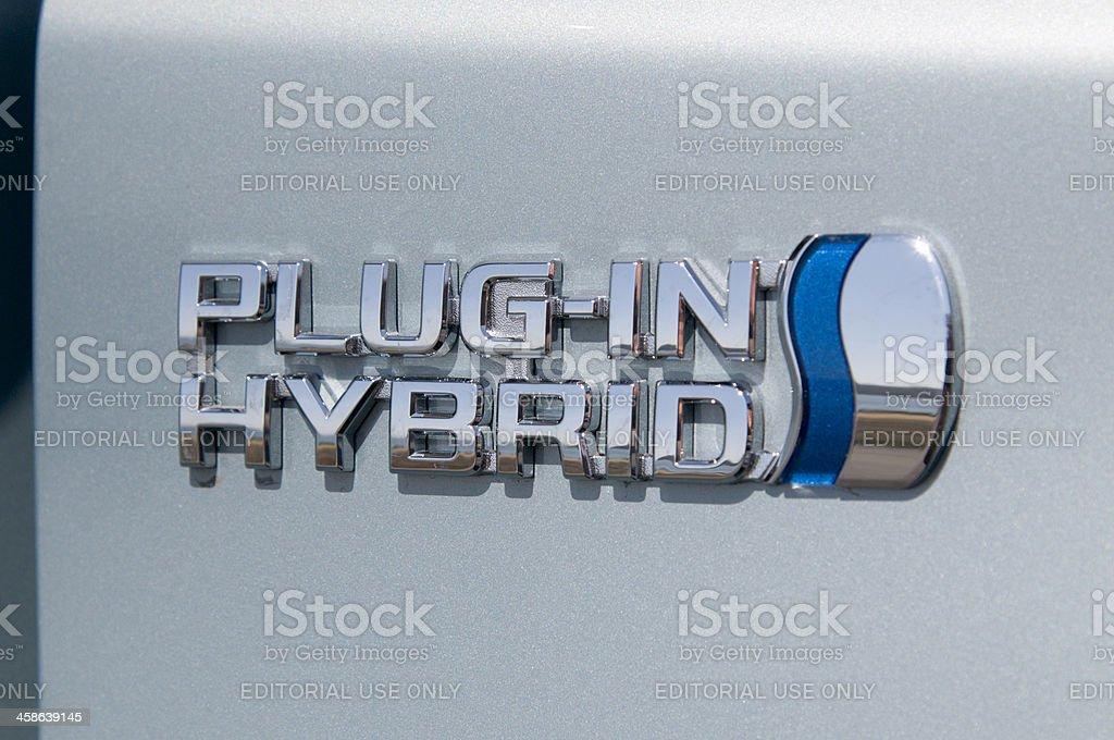 Toyota Prius Plugin-Hybrid-Emblem Lizenzfreies stock-foto