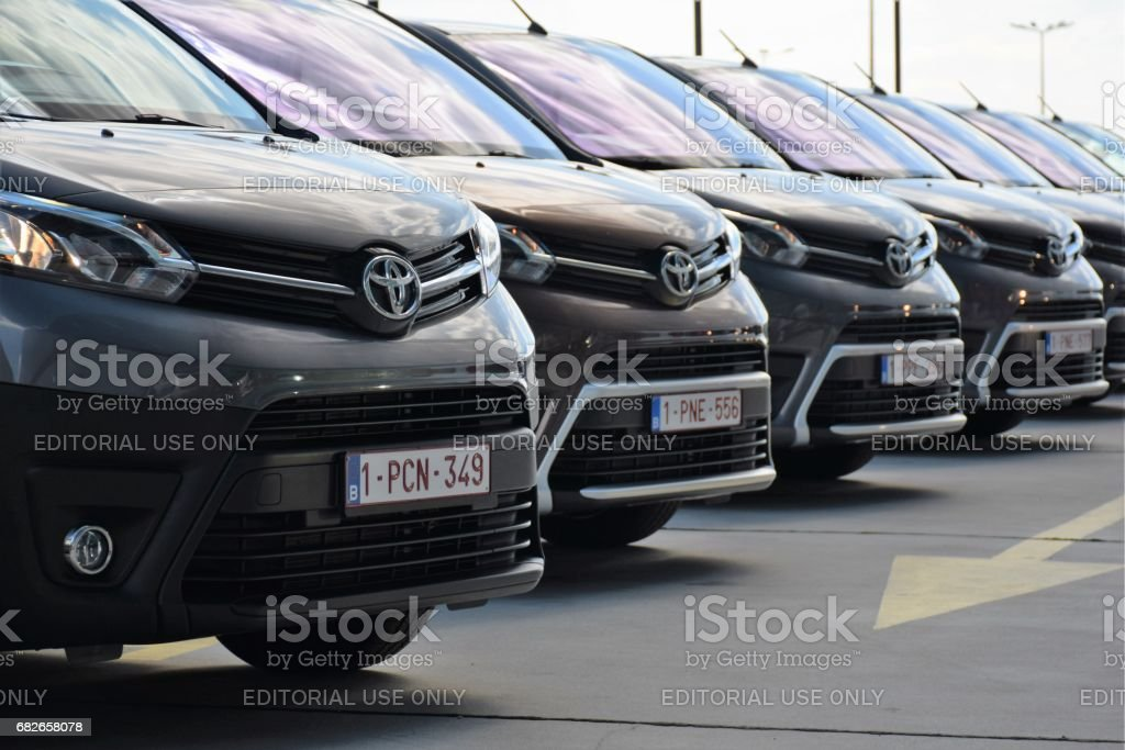 Toyota Proace vehicles on the parking stock photo