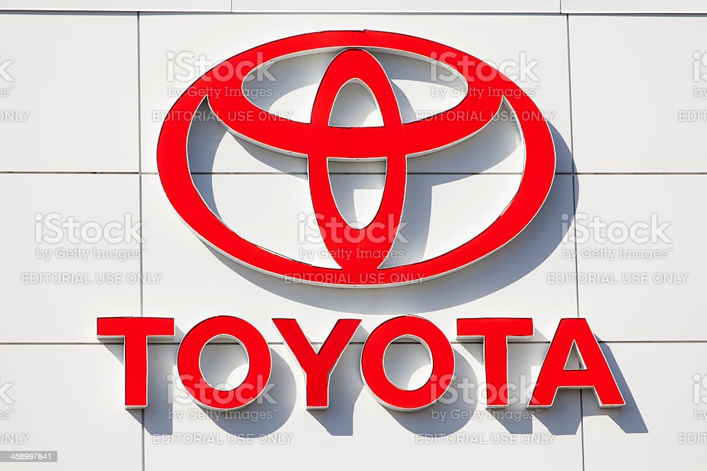 Toyota Sign at Car Dealership stock photo