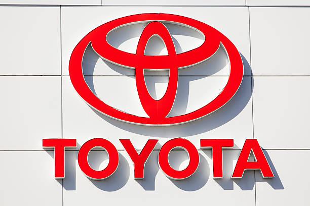 Toyota Sign at Car Dealership stock photo