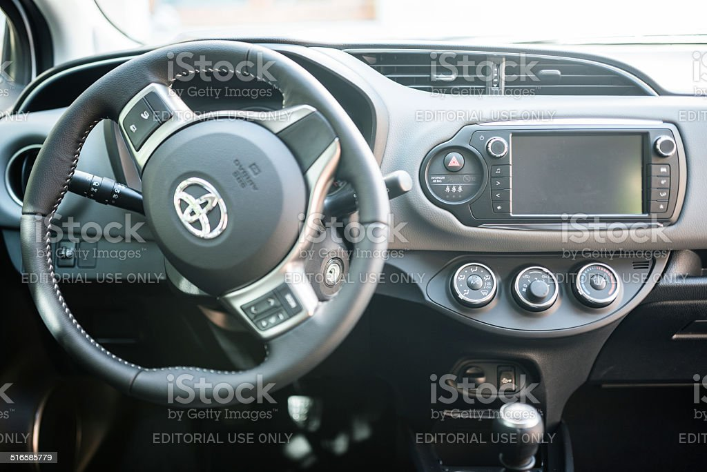 interior view of the new 2014 Toyota Yaris compact car parked on the...