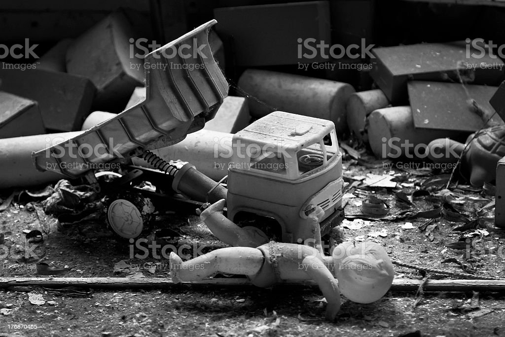 Toys after a nuclear accident stock photo