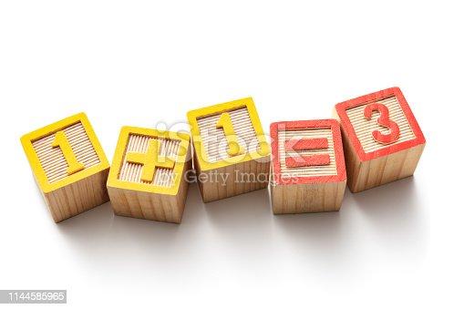 Toys: Alphabet Blocks - 1+1=3 Isolated on White Background