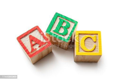 istock Toys: Alphabet Blocks - ABC Isolated on White Background 1144585969
