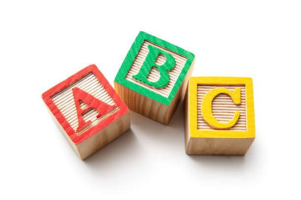Toys: Alphabet Blocks - ABC Isolated on White Background stock photo