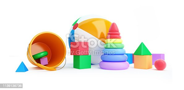 istock Toys alphabet cube, beach ball, pyramid 3D illustration on a white background 1139136736