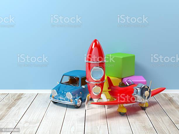 Toys on the floor on a background at wall. 3d illustration