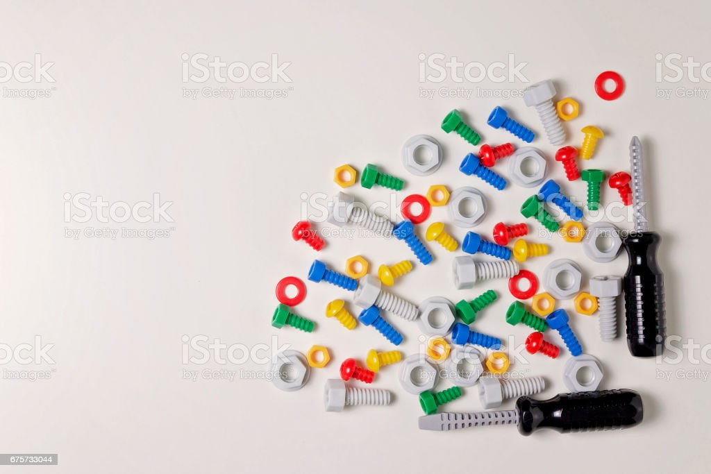 Toys Background Kids Construction Tools Frame On White Background