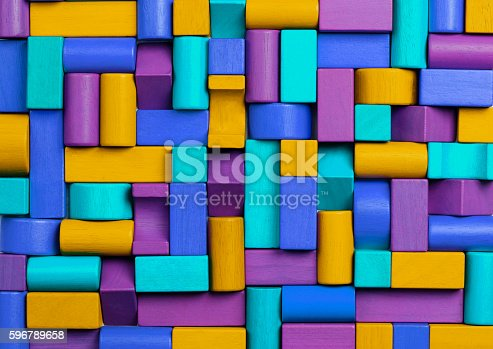 istock Toys Blocks Background, Abstract Mosaic Multicolored Kids Toy Bricks 596789658