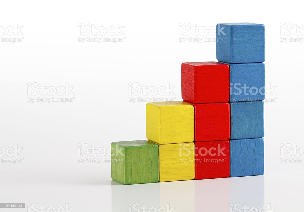Toys Blocks Step Stair, multicolor building bricks over white color stock photo