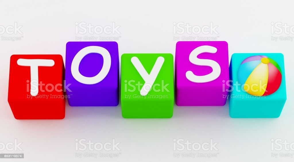 Toys Cubes 3D Text Blocks on White Background stock photo