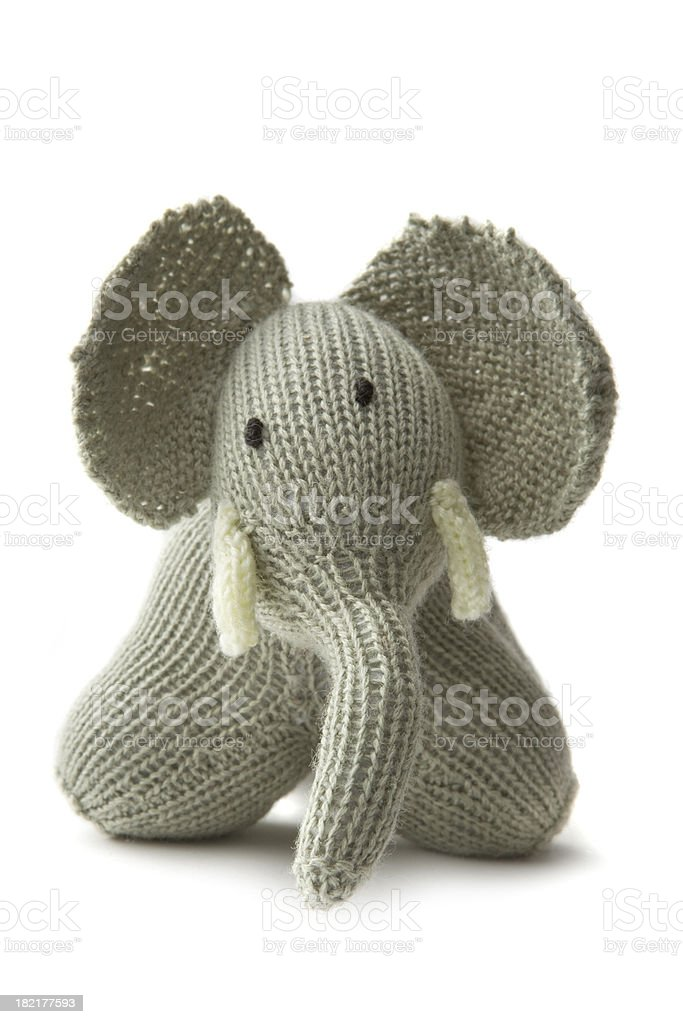 Toys: Elephant Isolated on White Background stock photo