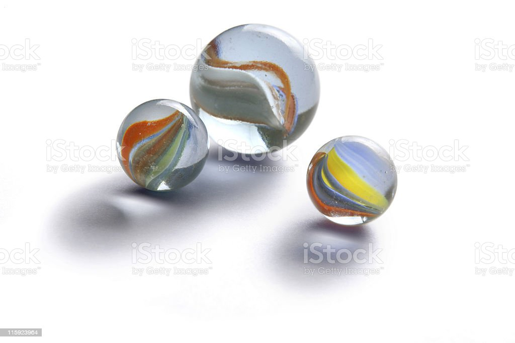 Toys: Marbles Isolated on White Background stock photo