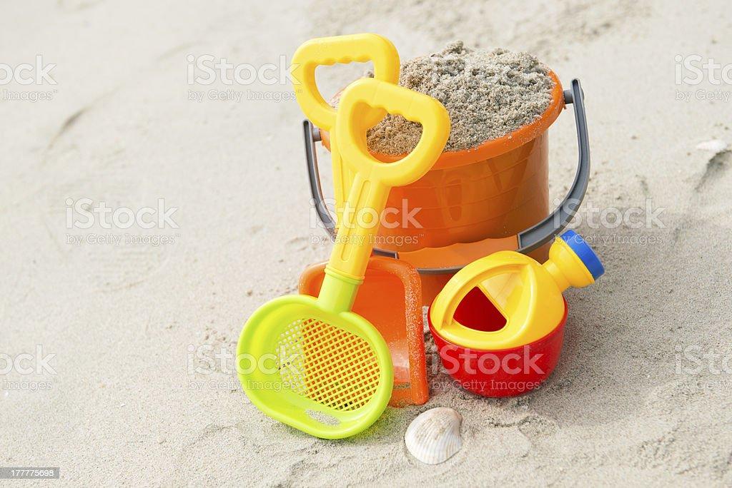 Toys on beach royalty-free stock photo