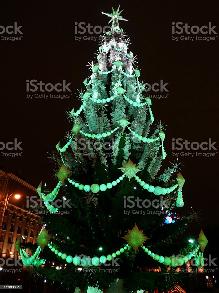 toys on green christmas firtree royalty-free stock photo