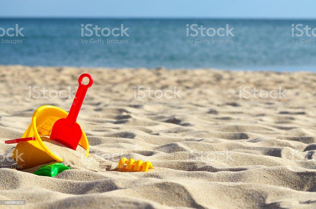 Toys sea sand stock photo