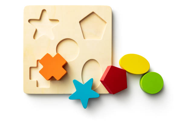 Toys: Shape Puzzle Isolated on White Background stock photo