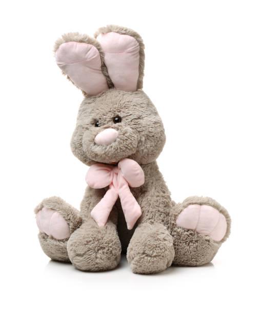 jouets: petit lapin de cendres, isolé sur fond blanc - doudou photos et images de collection