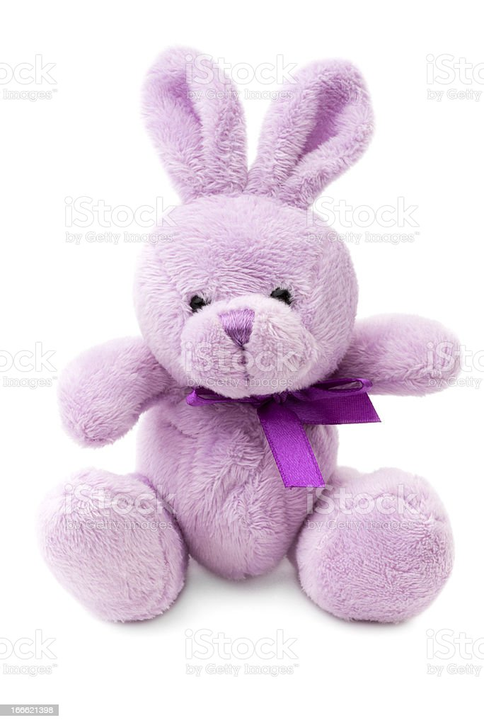 Toys: small pink or lilac rabbit, isolated on white background royalty-free stock photo
