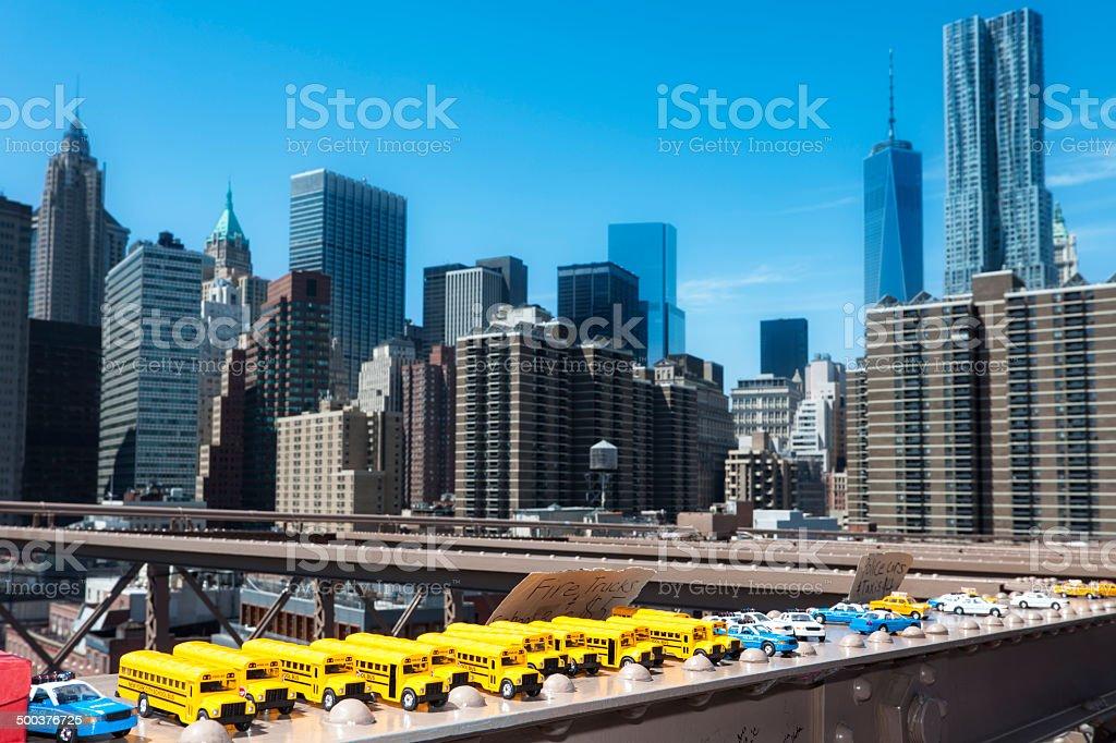 Toys, Souvenir Vehicles, New York Brooklyn Bridge, Manhattan Skyline royalty-free stock photo
