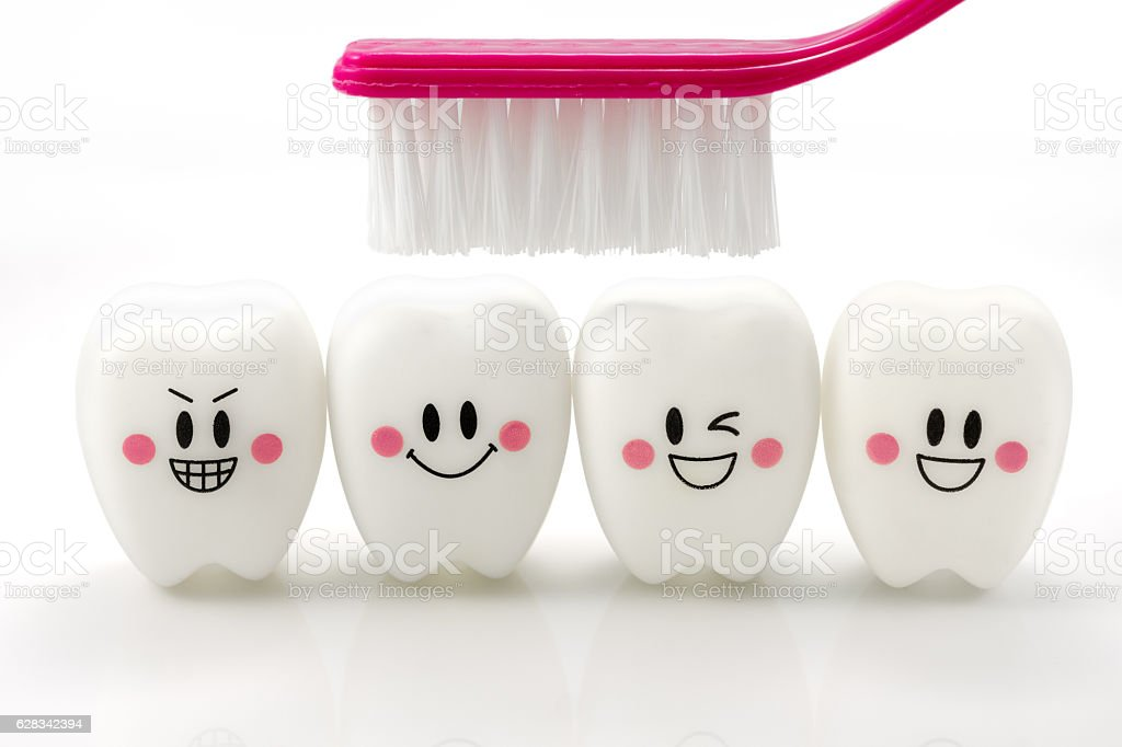 Toys teeth in a smiling mood stock photo