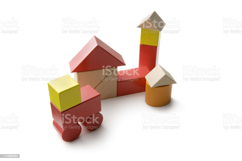 Toys: Toy Block Fire Department royalty-free stock photo