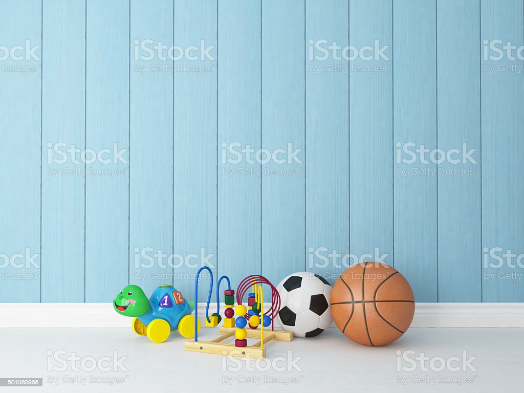 toys with blue wooden background stock photo