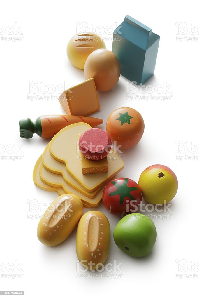 Toys: Wooden Food Isolated on White Background royalty-free stock photo