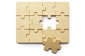 Toys: Wooden Jigzaw Puzzle Isolated on White Background