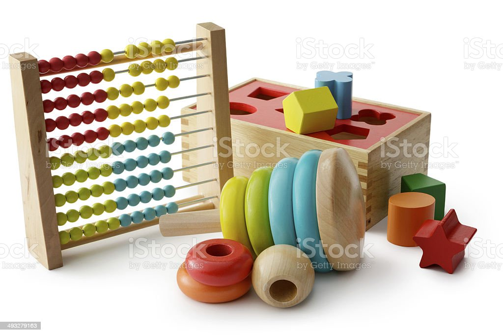 Toys: Wooden Toy Collection Isolated on White Background stock photo