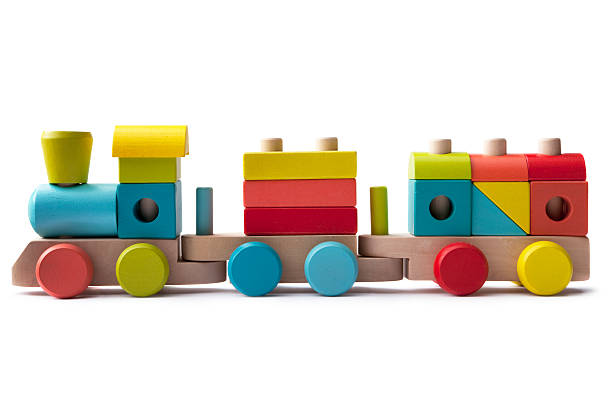 Toys: Wooden Train Isolated on White Background stock photo
