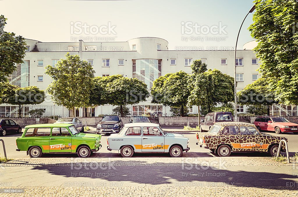 Trabants parked in Berlin, Germany stock photo