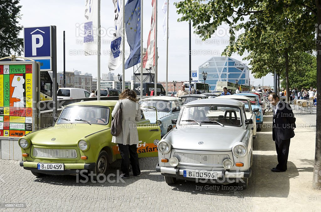 Trabants parked in Berlin royalty-free stock photo