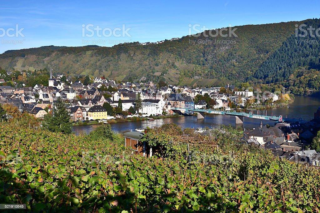 Traben-Trarbach and vineyards stock photo
