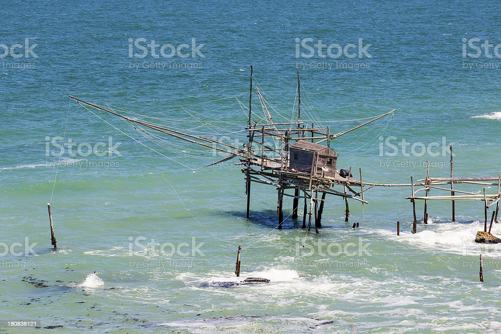 Trabocco fishing platform on the Adriatic coast, Abruzzi Italy royalty-free stock photo