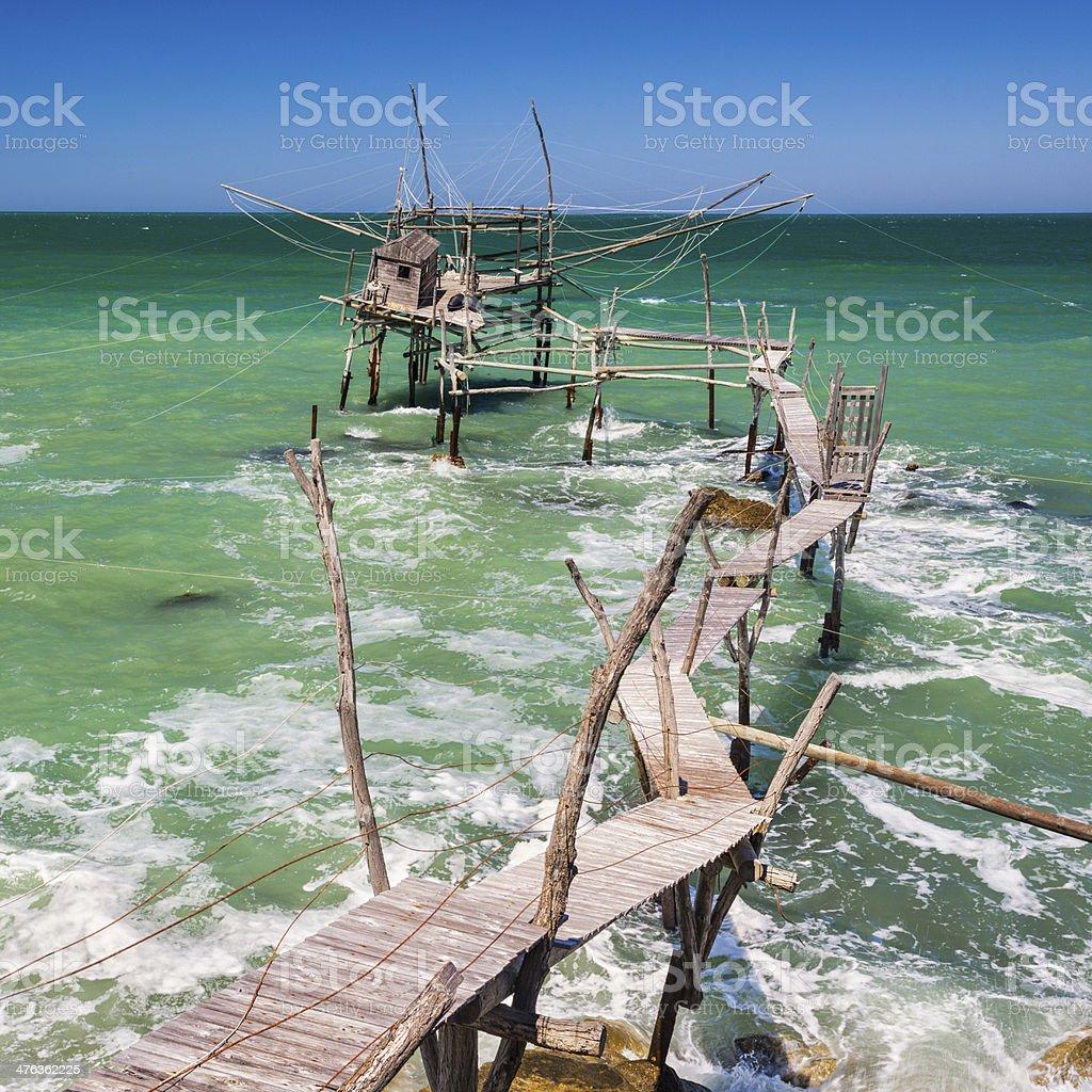 Trabocco fishing platform on the Adriatic coast, Abruzzi Italy royalty-free stock photo