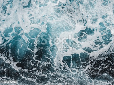 Trace of a cruise liner on the sea surface. Concept of leisure and travel