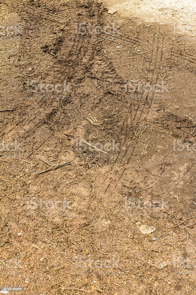 Trace of a tyre in the soil royalty-free stock photo