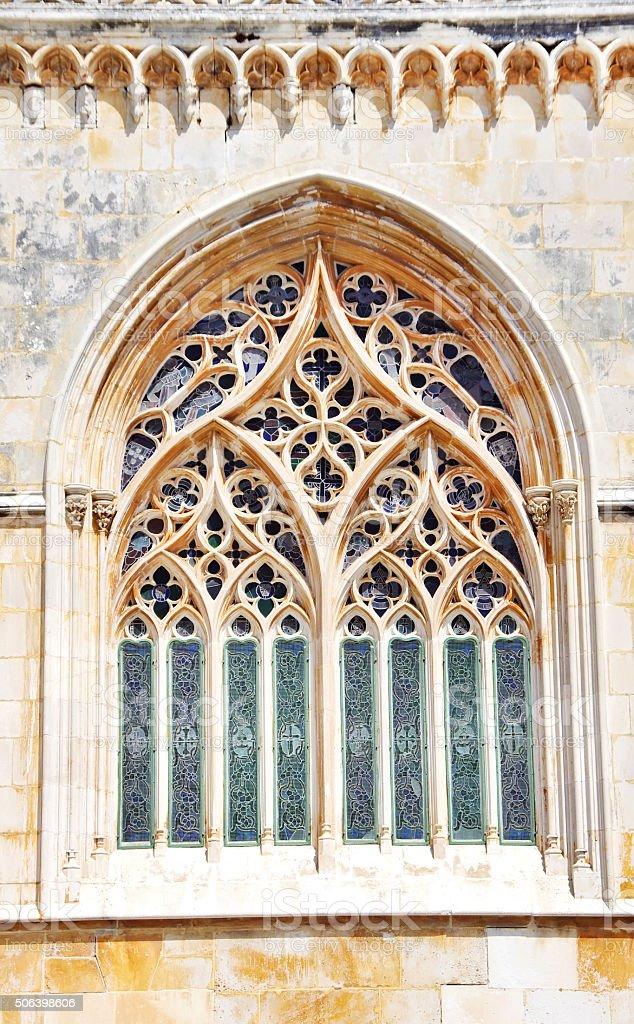Tracery Gothic window in Batalha Monastery stock photo