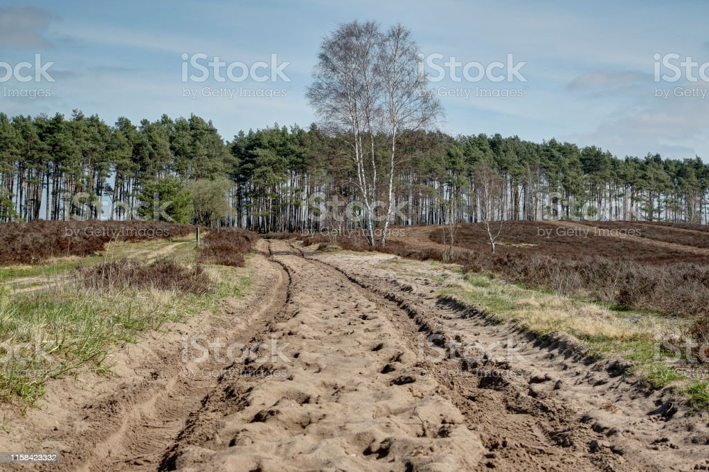 Traces of a carriage in the sand. - Royalty-free Blue Stock Photo