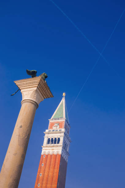 Traces of aircrafts above the San Marco Square stock photo