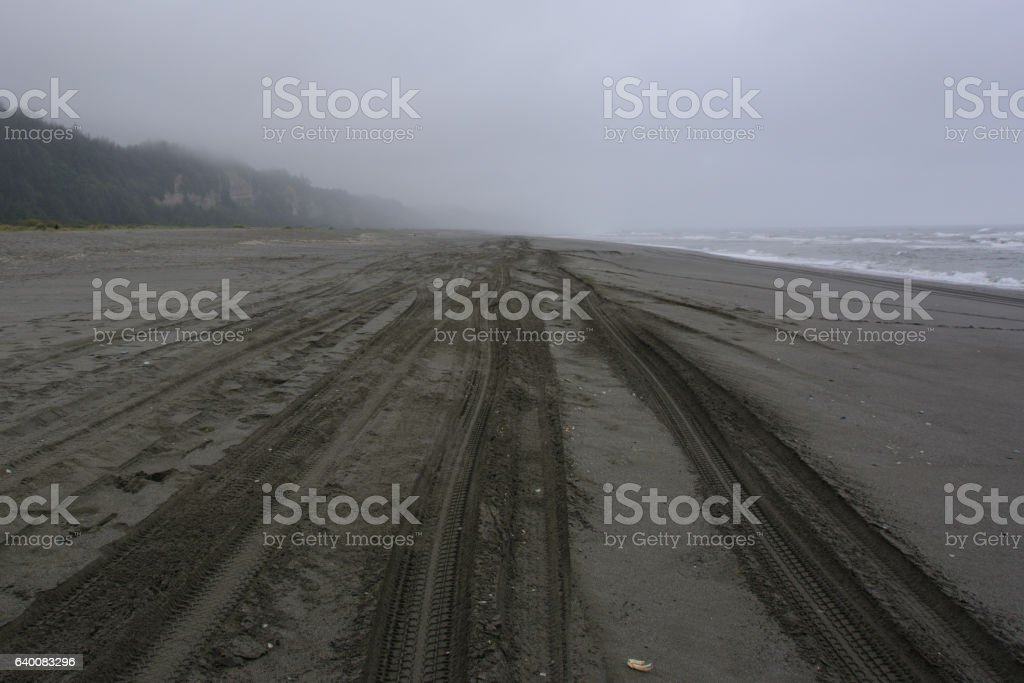 Traces of the wheel on the sand, Gold Bluffs Beach California stock photo