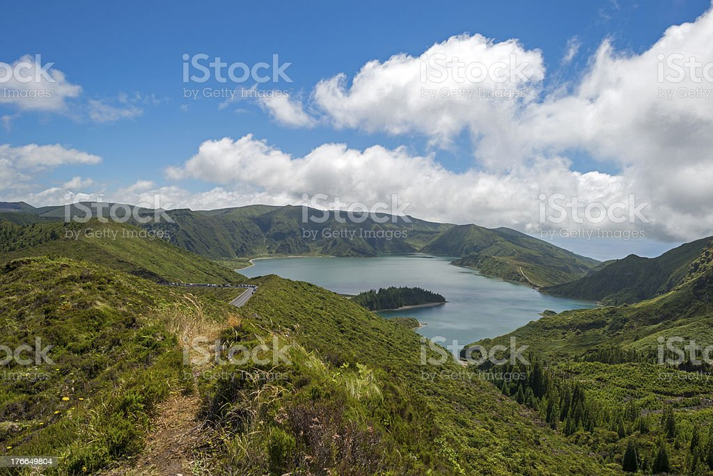 Track along a volcanic lake royalty-free stock photo