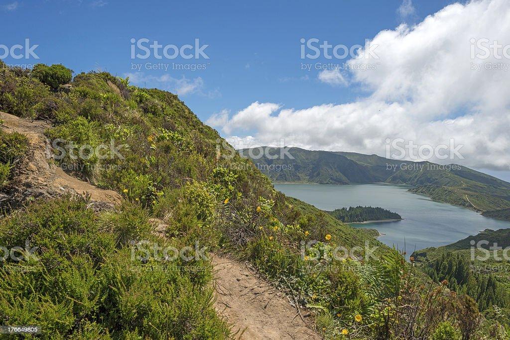 Track along a volcanic lake royalty-free stock photo