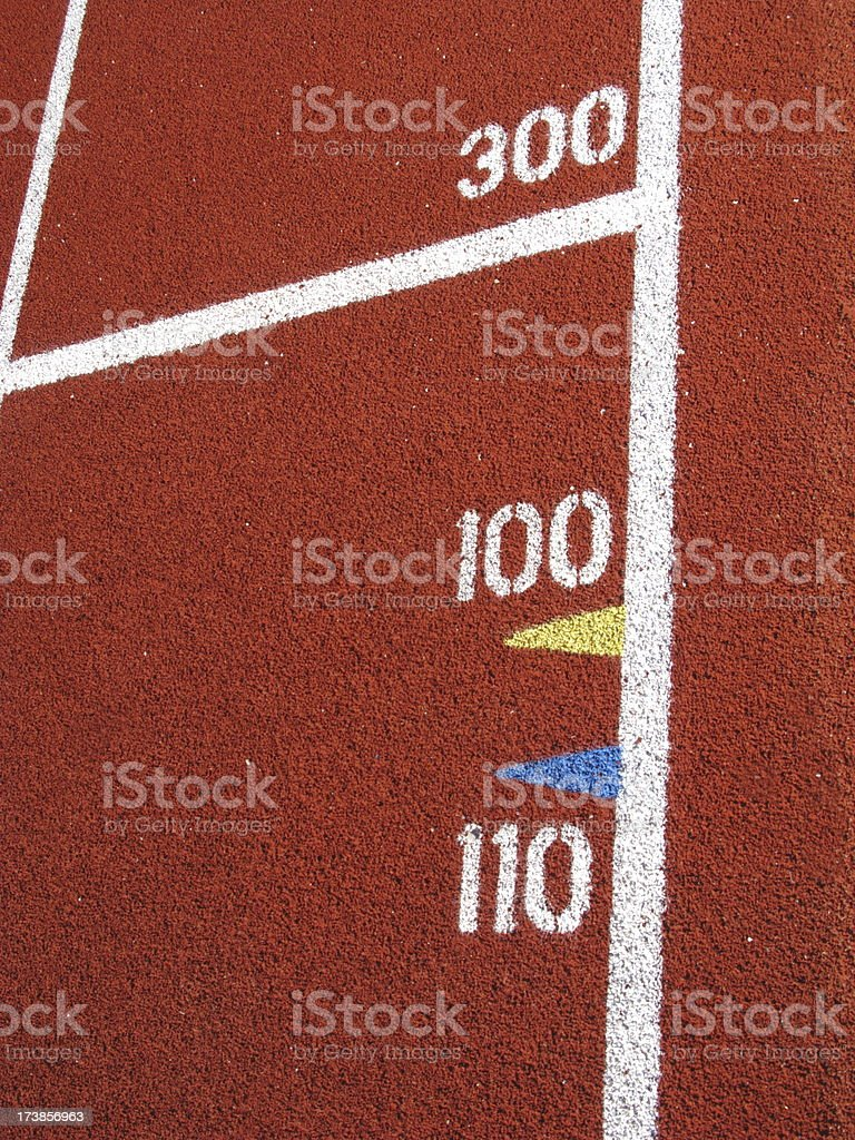 Track and Field Distance Markers royalty-free stock photo